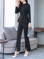 Black Long Sleeve Sheath Top With Pants