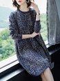 Long Sleeve Geometric Casual Shift Sweater Dress