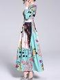 Blue A-line Holiday Elegant Leaf Printed Evening Maxi Dress