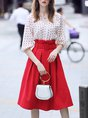 White-Red V neck Casual Printed Polka Dots Half Sleeve Top With Skirt