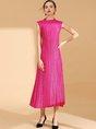 Elegant Pleated Shift Statement Midi Dress