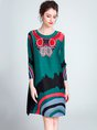Elegant Shift Graphic Printed Pleated Green Party Midi Dress