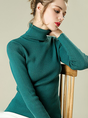 Sheath Turtleneck Ribbed Casual Long Sleeve Sweater