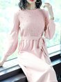 Pink Ribbed Casual Long Sleeve Sweater Dress
