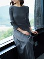 Casual Long Sleeve Ribbed Crew Neck Shift Sweater Dress
