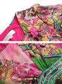 Square neck Fuchsia Swing Frill Sleeve Silk Elegant Floral Midi Dress
