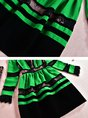 Green Party Long Sleeve Paneled Solid Midi Dress
