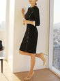 Black 3/4 Sleeve Paneled Sheath Midi Dress