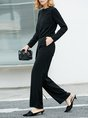 Black Long Sleeve Pockets Casual Crew Neck Solid Jumpsuit