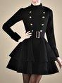 Stand Collar Black A-line Buttoned Statement Midi Dress