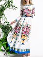 Elegant Printed Floral Evening Long Sleeve Maxi Dress