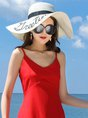 White Beach Letter Straw Casual Hat