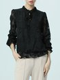 Black Long Sleeve Casual Paneled See-through Look Tie-neck Solid Blouse