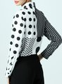 Black-white Shirt Collar Polka Dots Buttoned Printed Color-block Blouse