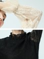 Guipure lace See-through Look Stand Collar Paneled Blouse