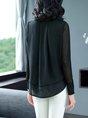 Black shift Stand Collar Paneled Velvet T-Shirt