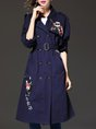 Dark blue Lapel Casual Floral-embroidered Trench Coat
