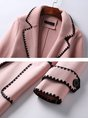Pink Embroidered Long Sleeve Shift Coat