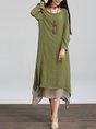 Asymmetrical Casual Cotton Asymmetric  Linen Dress
