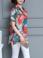 Abstract Casual Printed Short Sleeve Tunic