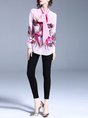 Pink Elegant Printed Bow Work Tie-neck Blouse