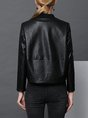 Black Long Sleeve Work Leather Jacket