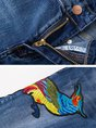 Blue Denim Casual Embroidered Pockets Straight Leg Pants