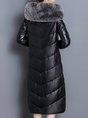 Black Hoodie Fluffy Zipper Pockets  Buttoned Down Coat