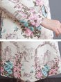 Beige Floral Buttoned Shawl Collar Casual Trench Coat