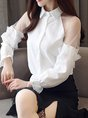 Buttoned Ruffled Paneled Bell Sleeve Blouse