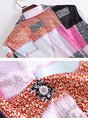 Multicolor Shirt Collar Shift Buttoned Printed Color-block Blouse