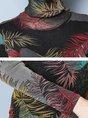 Leaf Printed Shimmer Shift Turtle Neck Tops