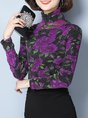 Shimmer Long Sleeve Turtle Neck Printed T-Shirt