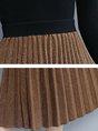 Caramel A-line Shimmer Paneled Pleated Midi Skirt