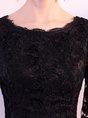 Black A-line Party Half Sleeve Evening Midi Dress