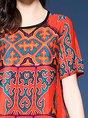 Multicolor Daytime Vintage Short Sleeve Printed Tribal Midi Dress