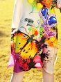 Multicolor Daytime Half Sleeve Embroidered Animal Midi Dress