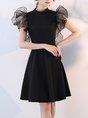Stand Collar Black Short Sleeve Paneled Statement Midi Dress