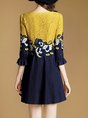 Blue  Daily 3/4 Sleeve Paneled  Mini Dress