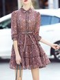 Shirt Collar  Blouson Going out 3/4 Sleeve Bow Floral Mini Dress