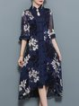 Holiday Stand Collar Swing Daily Chiffon Midi Dress