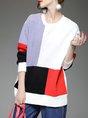 Paneled Long Sleeve Color-block Hoodies and Sweatshirt