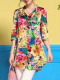 Multicolor Casual 3/4 Sleeve Floral Printed Tunic