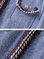 Gray Casual Shift Buttoned Pockets Piping Nylon Coat