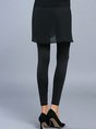 Black Solid Casual Tiered Skinny Leg Pants