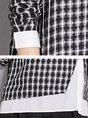 Black Checkered/Plaid Shift Paneled Long Sleeve Blouse