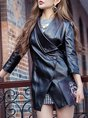 Black Asymmetrical 3/4 Sleeve Buttoned Solid Cropped Jacket
