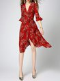 Surplice Neck Red A-line Frill Sleeve Casual Floral-print Midi Dress
