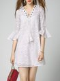 White Two Piece Daytime Casual Bell Sleeve Lace  Solid Mini Dress
