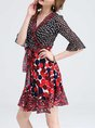 Surplice Neck Black-red A-line Daytime Bell Sleeve Paneled Polka Dots Midi Dress